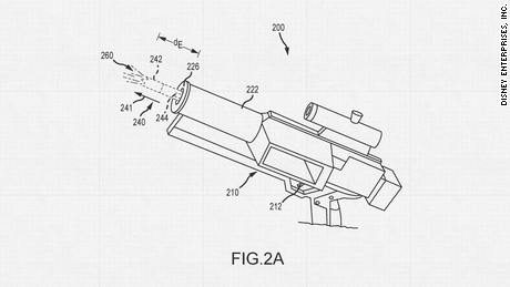 "Disney patented new technologies to bring elements of Star Wars to life, including this blaster prop capable of ""repeatable, daylight-viewable muzzle flashes."""