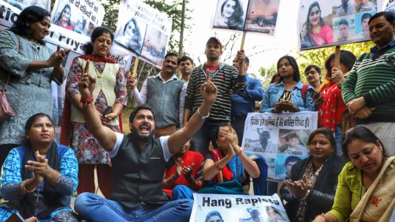 Protesters took to the streets of New Delhi on December 1, 2019 to demand justice for the Hyderabad rape and murder victim.