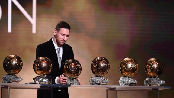 Barcelona's Lionel Messi reacts after winning his sxith Ballon d'Or award.