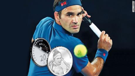 Swissmint honored Roger Federer with a silver coin (pictured here) and a gold coin will be issued next year.