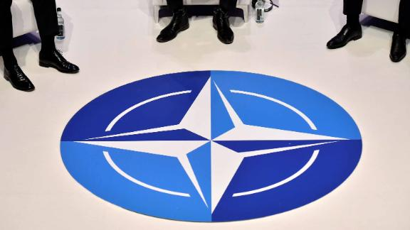 The Nato logo is pictured during a panel discussion at an official NATO outreach event, 'Nato Engages' in central London on December 3, 2019, prior to the NATO alliance summit. - NATO leaders gather Tuesday for a summit to mark the alliance's 70th anniversary but with leaders feuding and name-calling over money and strategy, the mood is far from festive. (Photo by Tobias SCHWARZ / AFP) (Photo by TOBIAS SCHWARZ/AFP via Getty Images)