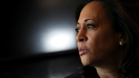 Democratic presidential hopeful U.S. Sen. Kamala Harris (C) (D-CA) rides on her campaign bus to a campaign event in Storm Lake on August 9, 2019 in Sioux City, Iowa.