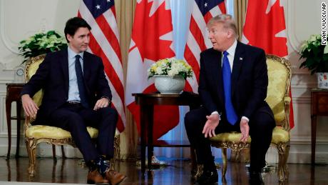 President Donald meets with Canadian Prime Minister Justin Trudeau at Winfield House, Tuesday, Dec. 3, 2019, in London. (AP Photo/ Evan Vucci)