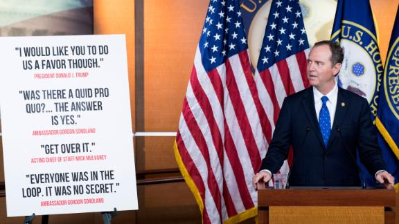 UNITED STATES - DECEMBER 3: House Intelligence Committee chairman Adam Schiff, D-Calif., holds a press conference on the committee's impeachment report in the Capitol on Tuesday, Dec. 3, 2019. (Photo By Bill Clark/CQ Roll Call via AP Images)
