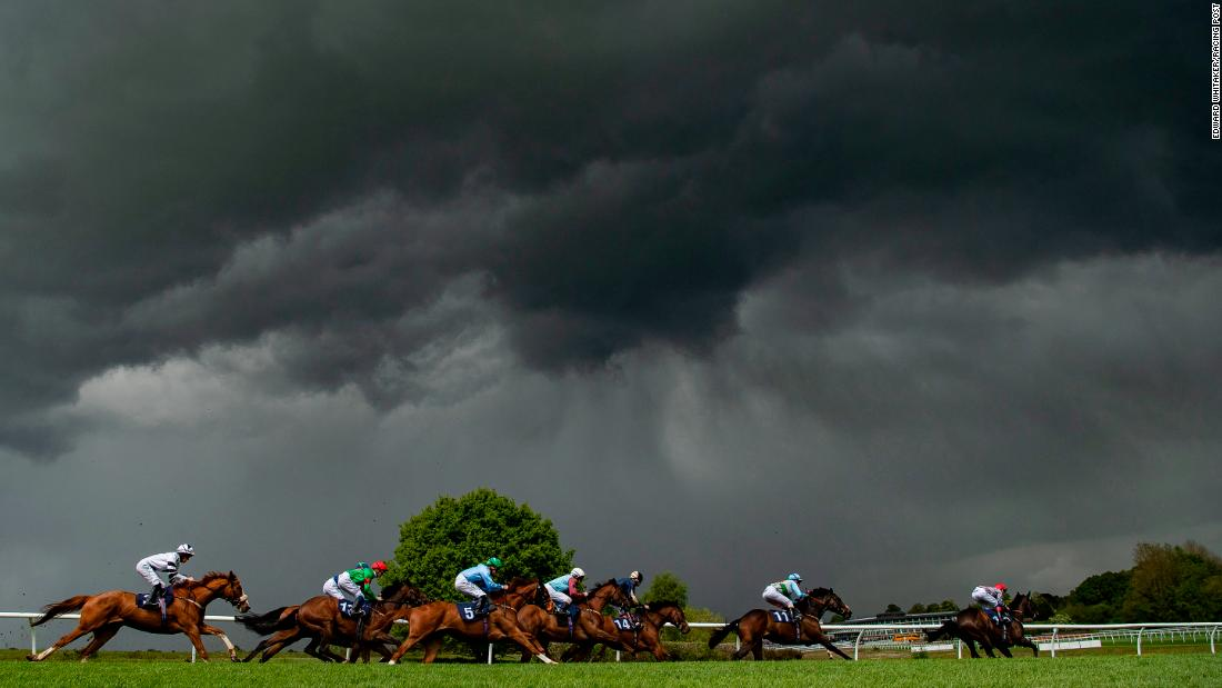 "This dramatic picture was taken at Lingfield, moments before it ""absolutely poured down with rain."" Whitaker concedes a lot of days for a racing photographer are spent ""living in waterproofs""."