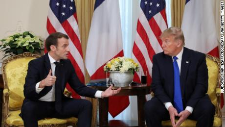 US President Donald Trump (R) talks with France's President Emmanuel Macron during their meeting at Winfield House, London on December 3, 2019. - NATO leaders gather Tuesday for a summit to mark the alliance's 70th anniversary but with leaders feuding and name-calling over money and strategy, the mood is far from festive. (Photo by ludovic MARIN / POOL / AFP) (Photo by LUDOVIC MARIN/POOL/AFP via Getty Images)
