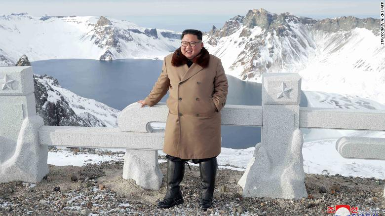 This undated picture released by North Korea's official Korean Central News Agency (KCNA) on Wednesday shows North Korean leader Kim Jong Un posing as he visits Mount Paektu.