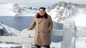 This undated picture released from North Korea's official Korean Central News Agency (KCNA) on December 4, 2019 shows North Korean leader Kim Jong Un posing as he visits battle sites at Mount Paektu, Ryanggang.