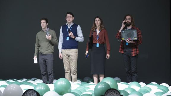 "Thomas Middleditch, Zach Woods, Amanda Crew and Martin Starr in HBO's ""Silicon Valley."""