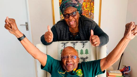 Tutu and his wife, Leah, show their support for South Africa's rugby team in this photo taken in October 2019. South Africa went on to win the Rugby World Cup.