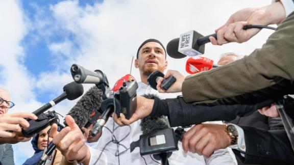 CHRISTCHURCH, NEW ZEALAND - MARCH 22: All Blacks Rugby Star Sonny Bill Williams speaks to the media after attending islamic prayers in Hagley Park near Al Noor mosque on March 22, 2019 in Christchurch, New Zealand. 50 people were killed, and dozens were injured in Christchurch on Friday, March 15 when a gunman opened fire at the Al Noor and Linwood mosques. The attack is the worst mass shooting in New Zealand's history. (Photo by Kai Schwoerer/Getty Images)