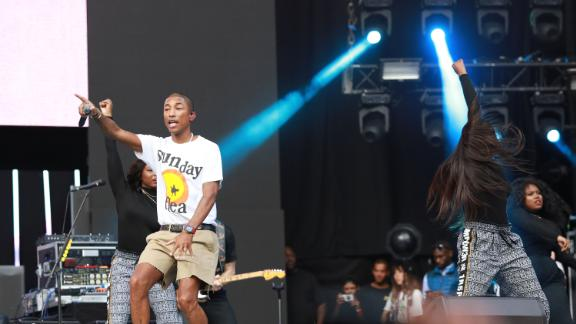Rapper and producer Pharrell Williams was among the star-studded line up at the 2018 Mandela 100 Global Citizen Festival in Johannesburg, South Africa.