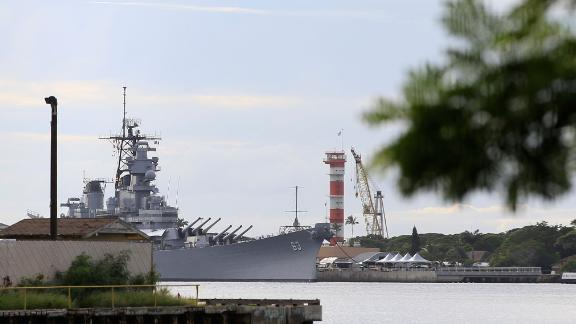 The Battleship Missouri Memorial, seen from Pearl Harbor National Memorial.