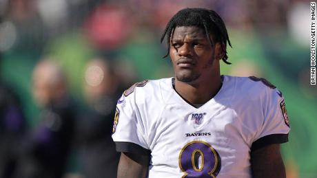 Lamar Jackson of the Baltimore Ravens at Paul Brown Stadium on November 10, 2019 in Cincinnati, Ohio.
