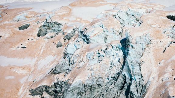 A glacier turning red in Mount Aspiring National Park.