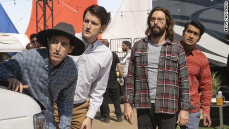 Thomas Middleditch, Zach Woods, Martin Starr and Kumail Nanjiani in &#39Silicon Valley&#39 (Eddy Chen/HBO)