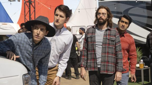 "Thomas Middleditch, Zach Woods, Martin Starr and Kumail Nanjiani in an episode of HBO's ""Silicon Valley."""