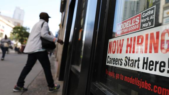 NEW YORK, NY - OCTOBER 05:  A now hiring sign is displayed in the window of a Brooklyn business on October 5, 2018 in New York, United States. Newly released data by the Labor Department on Friday shows that US employers added 134,000 jobs last month. While this was below economists expectations of 185,00, it brought the unemployment rate down to  3.7 percent, the lowest since December 1969.  (Photo by Spencer Platt/Getty Images)
