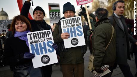 Protesters demonstrate in Trafalgar Square this week.