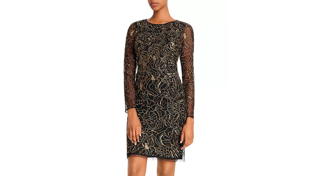 Aidan Mattox embellished floral metallic cocktail dress