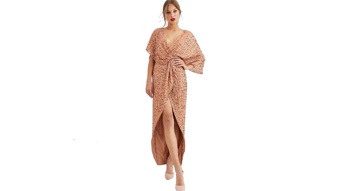 Asos Design scatter sequin knot-front kimono maxi dress
