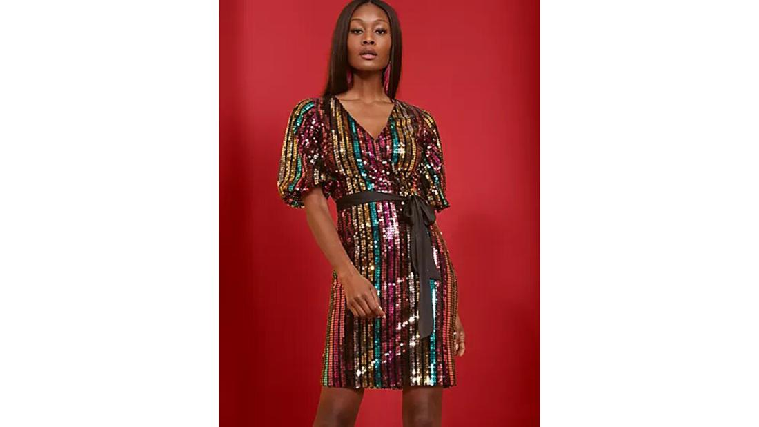 New York & Company sequin wrap-front sheath dress