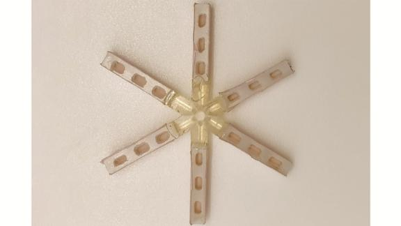The star-shaped capsule can deliver a one-month dose of a contraceptive drug.