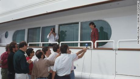 Ghislaine Maxwell in Tenerife after her father's death on board the yacht he named after her.