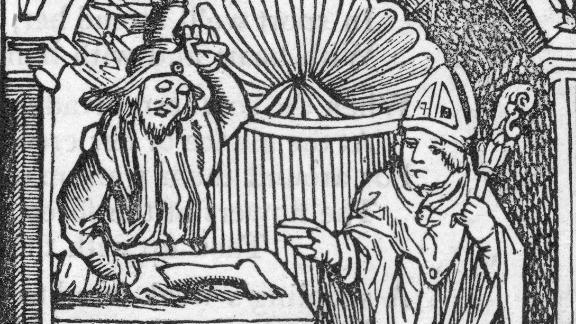 A depiction of the story of St. Nicholas and a very wicked innkeeper.