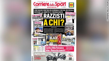 Corriere dello Sport published a strong defense of its front page.