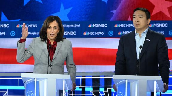 Andrew Yang and Kamala Harris, who recently ended her 2020 presidential bid, take part in November