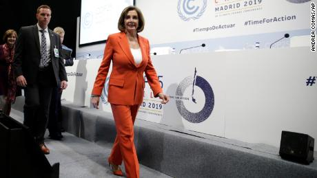 House Speaker Nancy Pelosi of Calif. arrives for a press conference at the COP25 climate talks summit in Madrid, Monday December 2, 2019.
