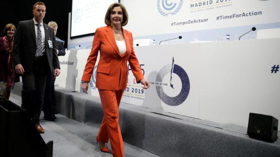 House Speaker Nancy Pelosi arrives for a press conference at the COP25 climate talks in Madrid last week.