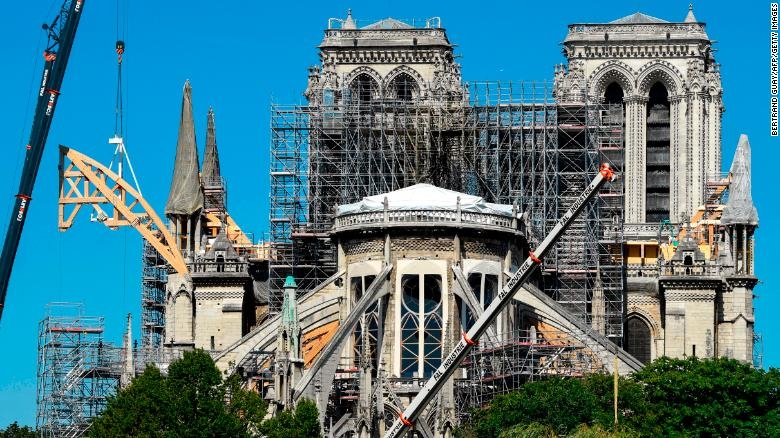 Reconstruction works take place on Notre-Dame on July 9, 2019 in Paris after it was badly damaged by fire in April.