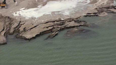 Remnants of collapsed property into the Detroit River, which sits on a previously radioactive site.