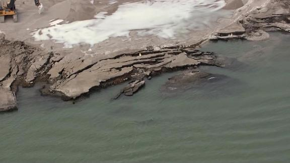 Remnants of the property that collapsed into the Detroit River.