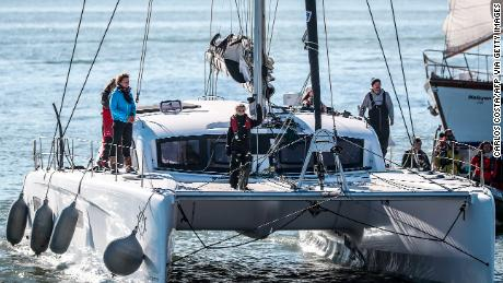 Thunberg rides on the catamaran, La Vagabonde.