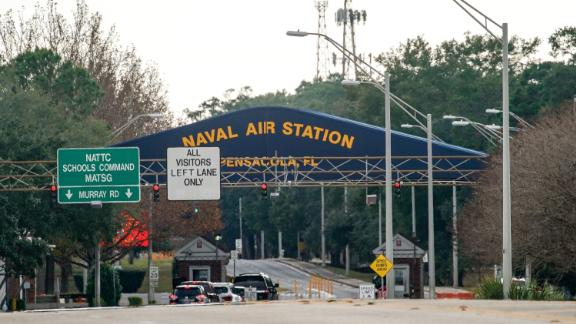 PENSACOLA, FLORIDA - DECEMBER 06: A general view of the atmosphere at the Pensacola Naval Air Station main gate following a shooting on December 06, 2019 in Pensacola, Florida. The second shooting on a U.S. Naval Base in a week has left three dead plus the suspect and seven people wounded.  (Photo by Josh Brasted/Getty Images)