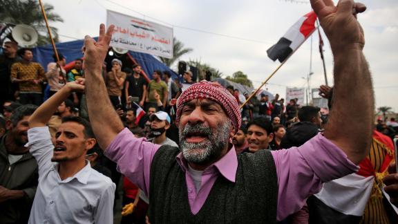 Demonstrators rally in Baghdad's Tahrir Square.