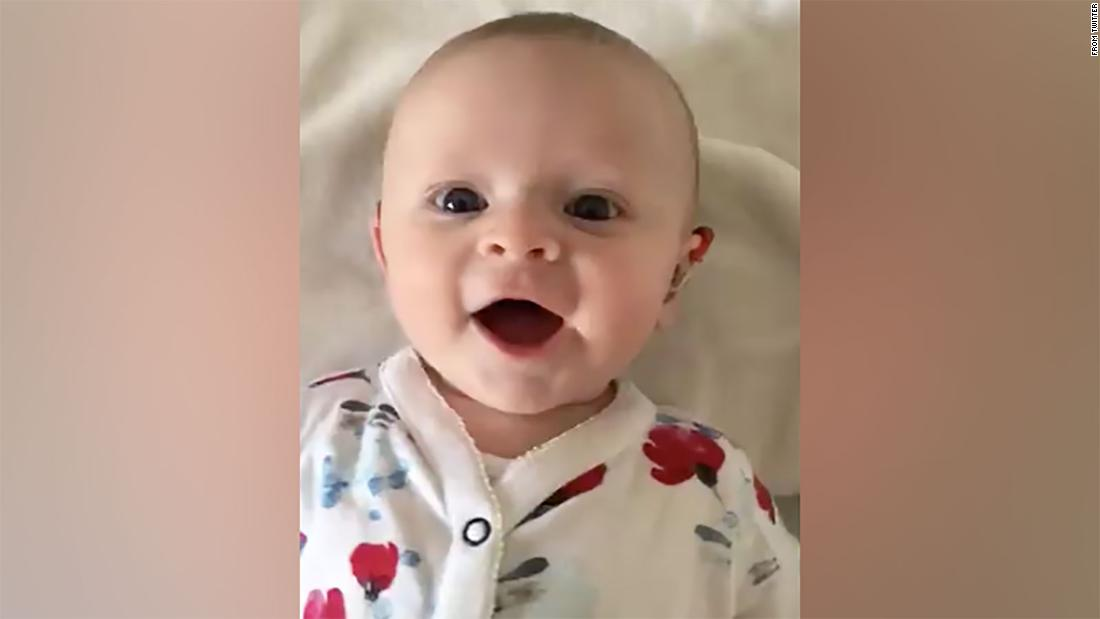 Video captures the sound of joy when a baby's hearing aid is turned on