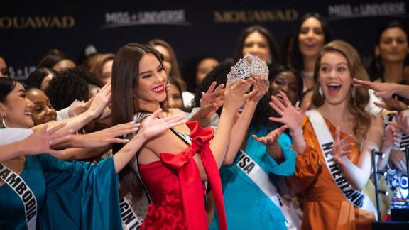 The current Miss Universe Catriona Gray unveils the new crown at the Marriott Marquis in Atlanta
