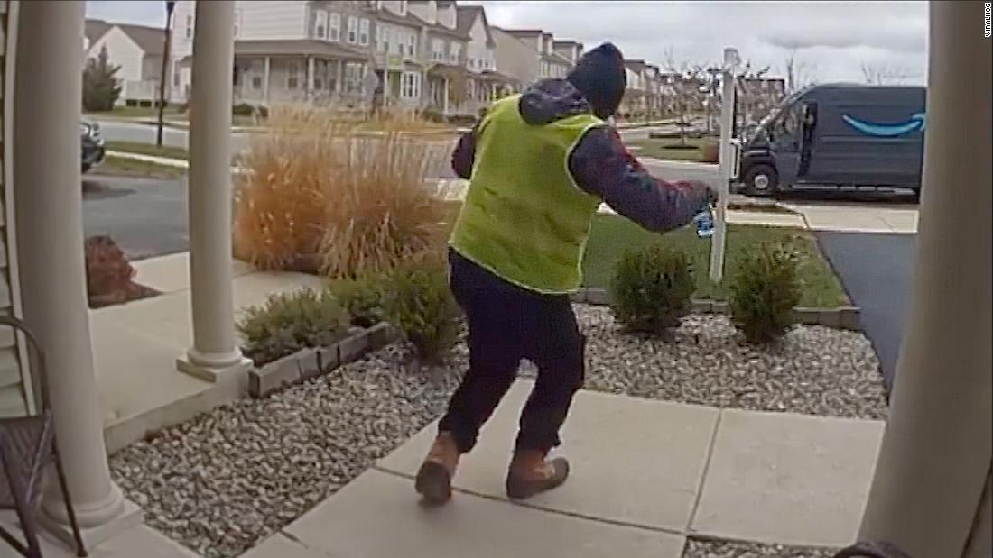 Amazon driver dances after getting some free snacks
