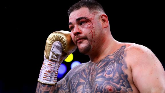 Andy Ruiz Jr was cut at the side of his left eye early in his unanimous points defeat to Anthony Joshua in Saudi Arabia.