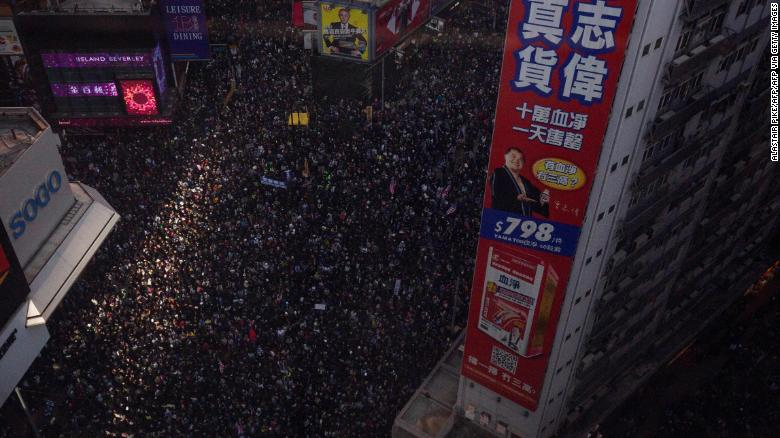 Protesters crowd roads in the Causeway Bay of Hong Kong, on December 8, 2019.