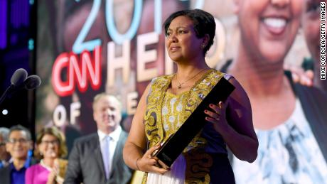 NEW YORK, NEW YORK - DECEMBER 08: 2019 CNN Hero of the Year Freweini Mebrahtu speaks onstage during CNN Heroes at American Museum of Natural History on December 08, 2019 in New York City. (Photo by Mike Coppola/Getty Images)