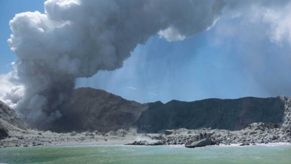 A view of the eruption from the sea.