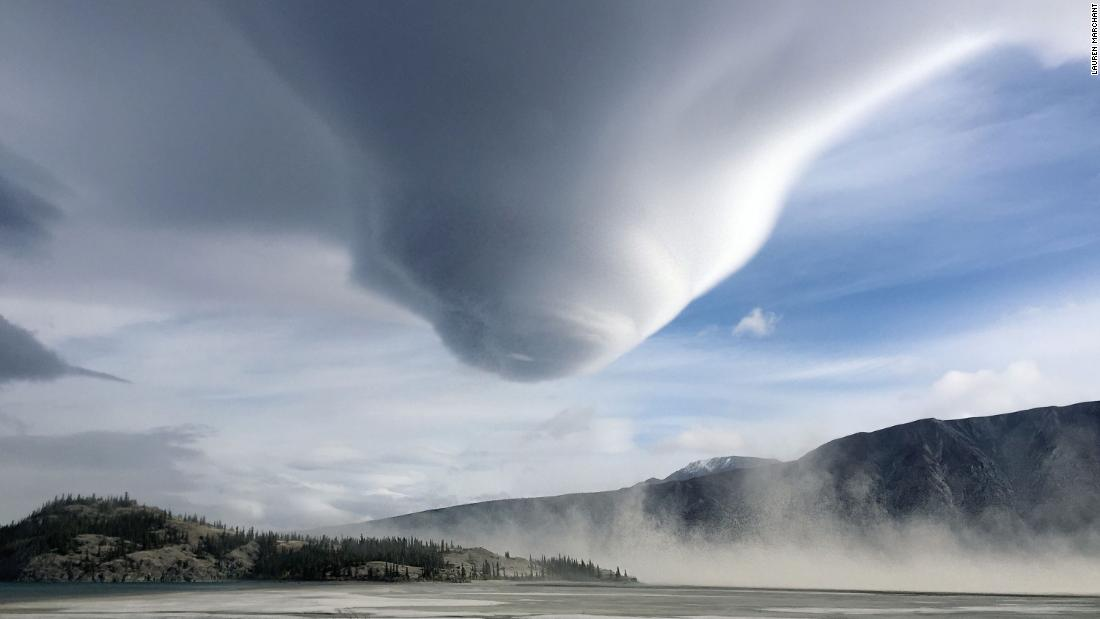 Most tornadoes start as funnel clouds, such as this large one in the Yukon, Canada.