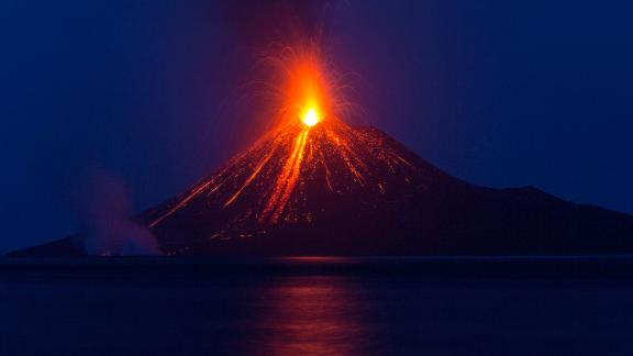 In August 2018, Anak Krakatau in East Asia, is seen here at the start of its eruptive phase. Later, its southwestern flank collapsed and caused a tsunami, which killed hundreds of people in December 2018.