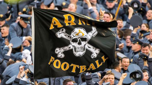 The Army football flag displayed during the Army-Navy football game in December 2015.