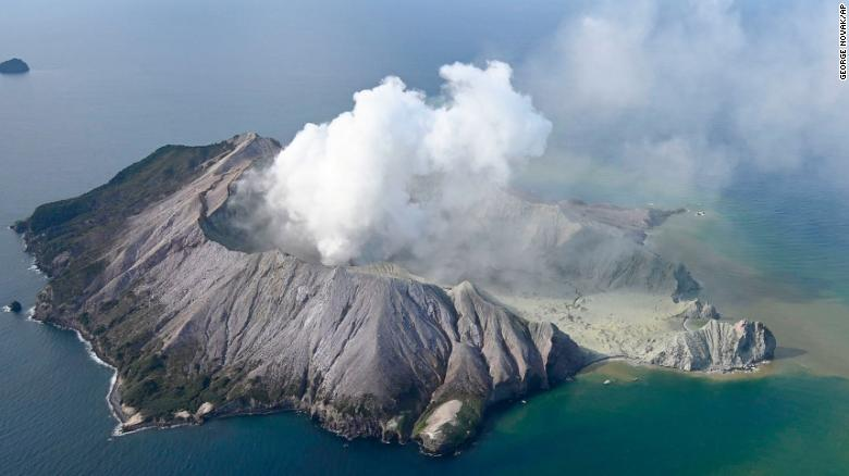 An aerial photo shows White Island, New Zealand, after a volcanic eruption on Monday, December 9.